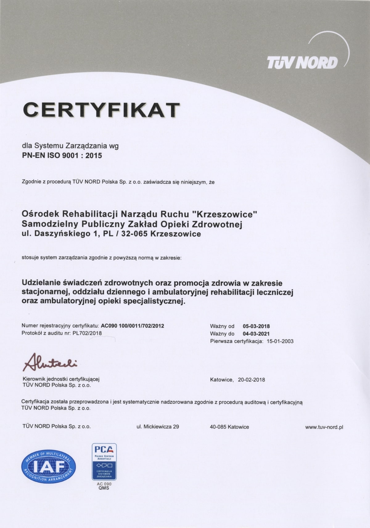 Cetryfikat ISO - PCA QMS18 001